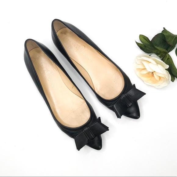 Ivanka Trump Shoes - Ivanka Trump Black Leather Bow Flats